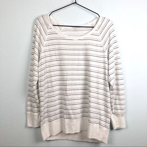 James Perse Striped Long Sleeve Pullover Top White